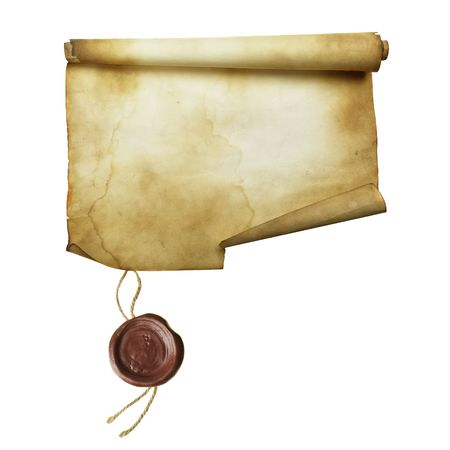 credence: Ancient scroll with seal isolated over a white background