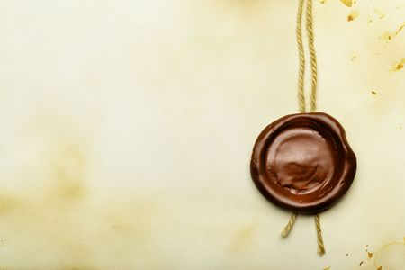 credence: Old paper with wax seal close up Stock Photo