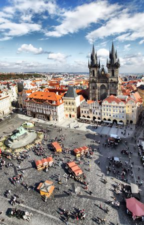 tyn: Old town square and Church of Virgin Maria Before Tyn, Prague, Czech republic