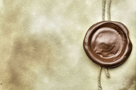 Old paper with wax seal close up Stock Photo - 6650252