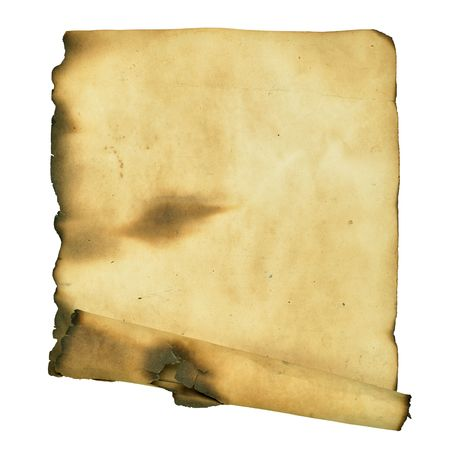 Burnt manuscript isolated over a white background photo