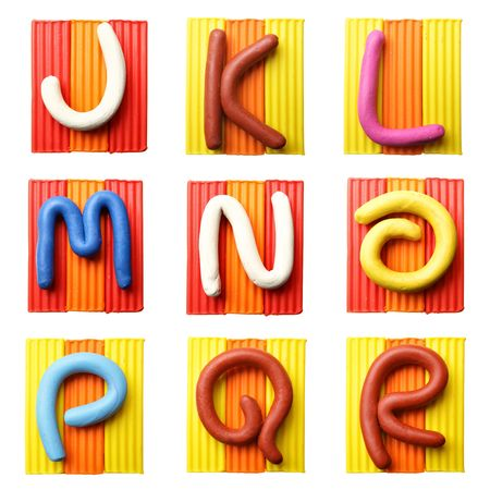 Letter A- Plasticine alphabet isolated over white background photo