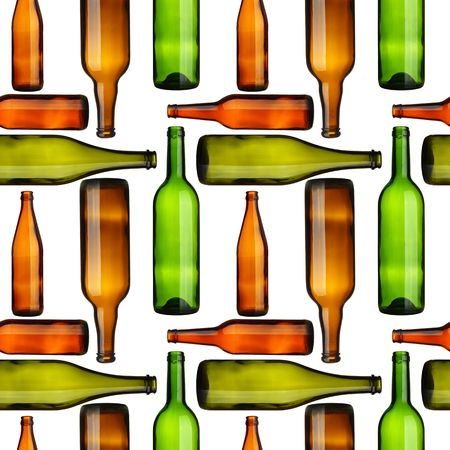 wine colour: Seamless pattern - Empty bottles over white background