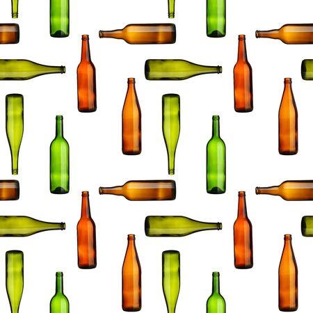 leere flaschen: Nahtlose Muster - leeren Flaschen �ber wei�en Hintergrund