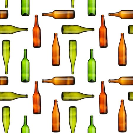 beer and wine: Seamless pattern - Empty bottles over white background