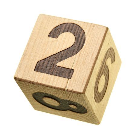 2 - Wooden blocks with digits isolated over the white background photo