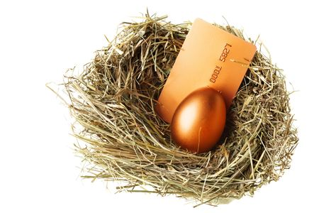 Gold egg and credit card in nest photo