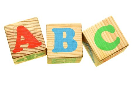 wood blocks: Wooden letters ABC isolated over the white background