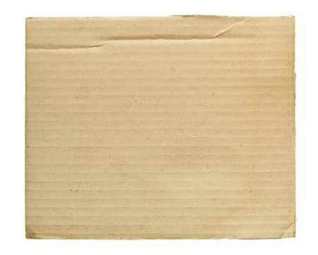 corrugated cardboard: Scrap of cardboard isolated over the white background Stock Photo