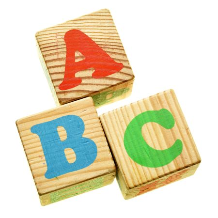 Wooden letters ABC isolated over the white background photo
