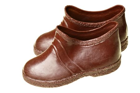 children's wear: Childrens galoshes isolated over the white background Stock Photo