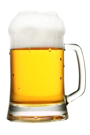Mug of beer with froth isolated over white background photo