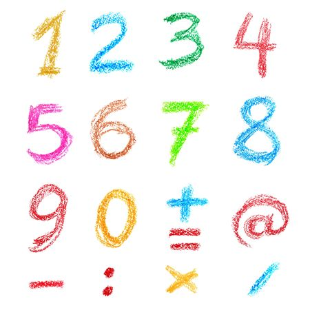 Crayon numbers and signs isolated over the white background photo