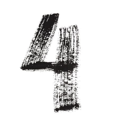 indian paint brush: 4 - Ink numbers isolated over the white background Stock Photo