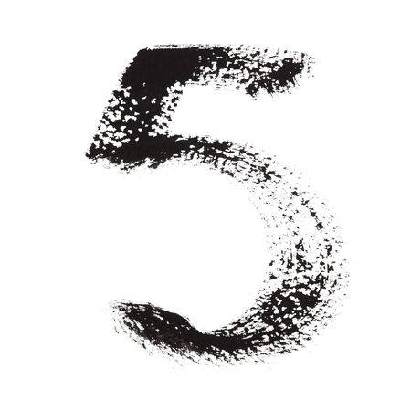 educaton: 5 - Ink numbers isolated over the white background Stock Photo