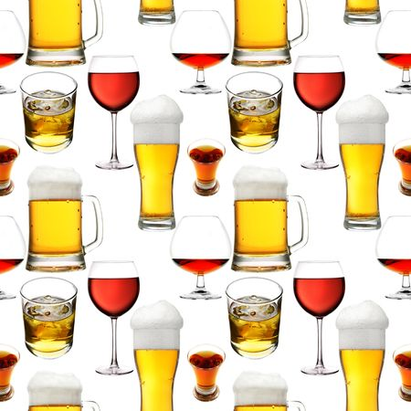Seamless pattern - Alcohol  beverages over white background photo