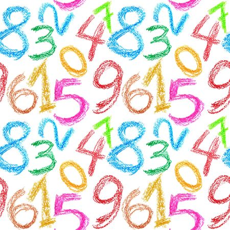 Seamless pattern - Crayon numbers over white background photo