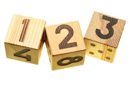 Wooden blocks with digits 123 isolated over the white background photo