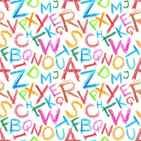 Seamless pattern - Crayon letters over white background Stock Photo - 6847629