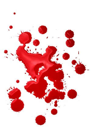 blot: Blood splatters isolated over the white background