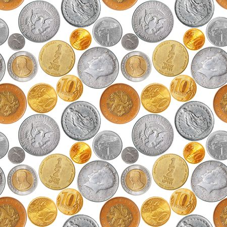 czech republic coin: Seamless pattern - Various coins isolated over the white background