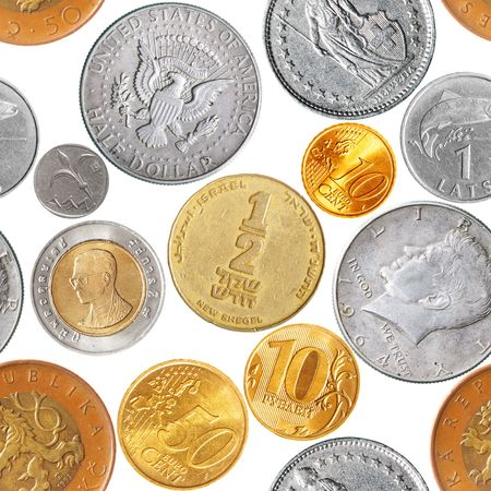 Seamless pattern - Various coins isolated over the white background Stock Photo - 6925551