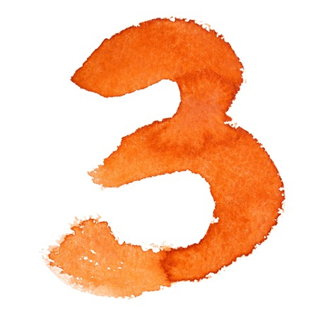 educaton: Watercolor digits isolated over the white background
