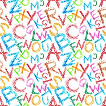 Seamless pattern - Crayon alphabet over white background photo