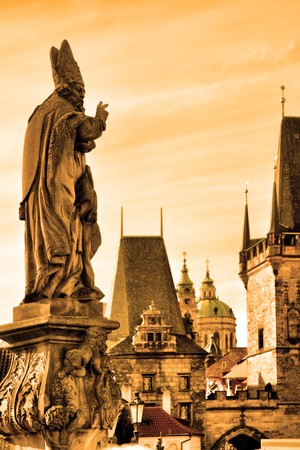 praha: Charles bridge statues and cityscape of Prague, Chech republic