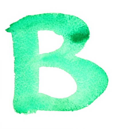 B - Watercolor letters isolated over the white background photo