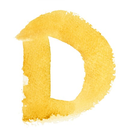 D - Watercolor letters isolated over the white background photo