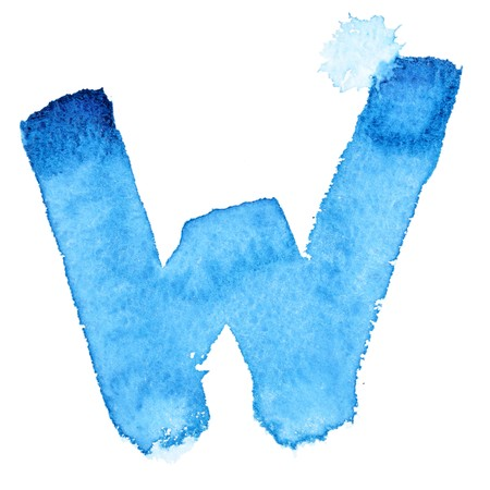 W - Watercolor letters isolated over the white background photo