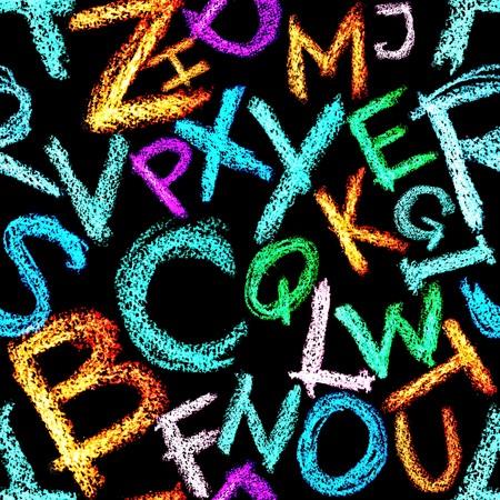 educaton: Seamless pattern - Crayon alphabet over white background Stock Photo