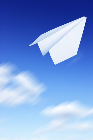 Paper plane flying. Sky and clouds in the background  Stock Photo