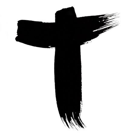 T - Stylized black ink font over white background photo