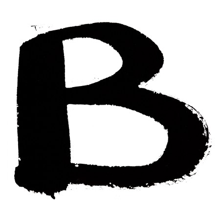 B - Black ink letters isolated over the white background photo