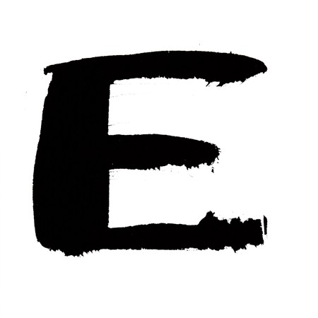 e ink: E - Black ink letters isolated over the white background