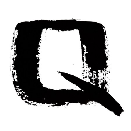 Q - Black ink letters isolated over the white background photo