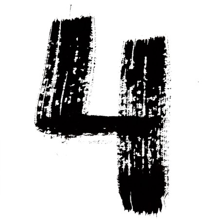indian paint brush: 4 - Black ink numbers over the white background