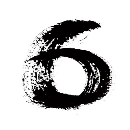 6 - Black ink numbers over the white background photo