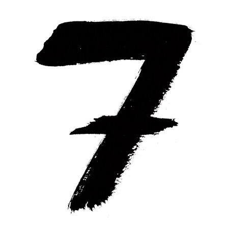 7 - Black ink numbers over the white background photo