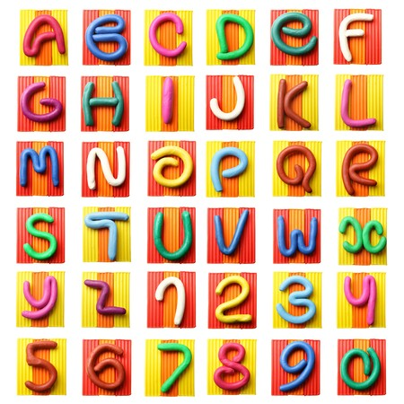 modelling clay: Colorful plasticine alphabet isolated over white background Stock Photo