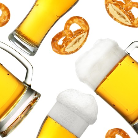Seamless pattern - Beer mugs over white background photo