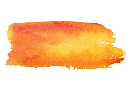 color water: Orange watercolor brush strokes with space for your own text Stock Photo