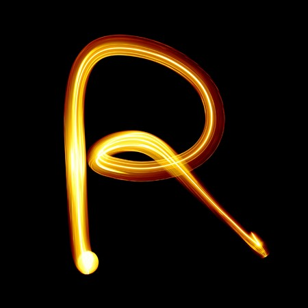 letter r: Created by light alphabet over black background