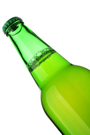 Beer bottle close-up isolated over the white background photo