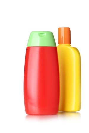 hygienic: Bottles with hygienic products isolated over the white background Stock Photo