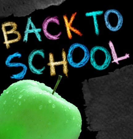 Apple and back to school text over white background photo