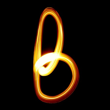flame alphabet: B - Created by light alphabet - lower case character
