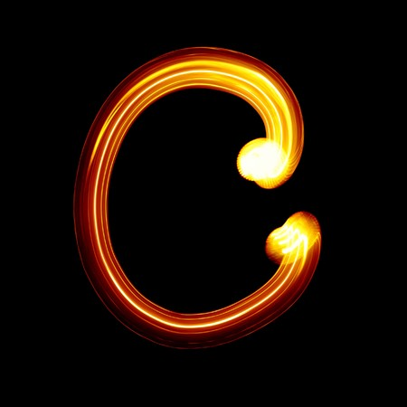 burn: C - Created by light alphabet - lower case character Stock Photo